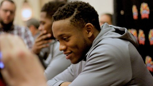 Darron Lee meets with the media at the Fiesta Bowl.