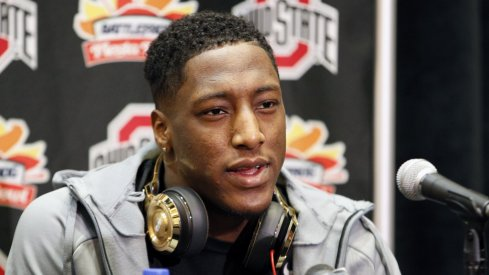 Michael Thomas meets with the media at the Fiesta Bowl.
