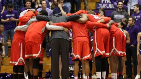 Ohio State huddles up prior to taking on Northwestern.