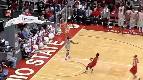 A.J. Harris dunked against Rutgers Wednesday.