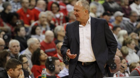 Thad Matta discusses a call with an official earlier this season.