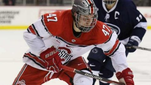 Josh Healey skates against Penn State