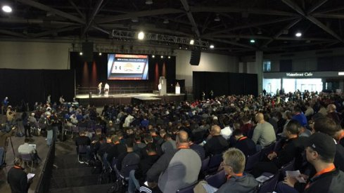 800-900 NFL scouts watch players weigh-in at the Senior Bowl.