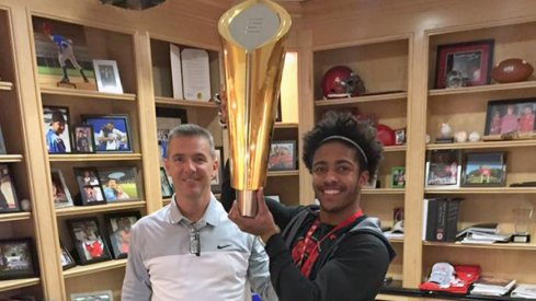 Jaelen Gill with the 2015 National Championship trophy.