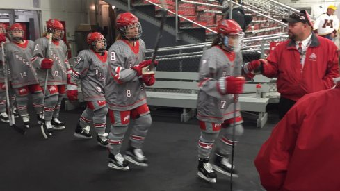 The women's hockey Buckeyes take the ice at the Ohio State Ice Rink