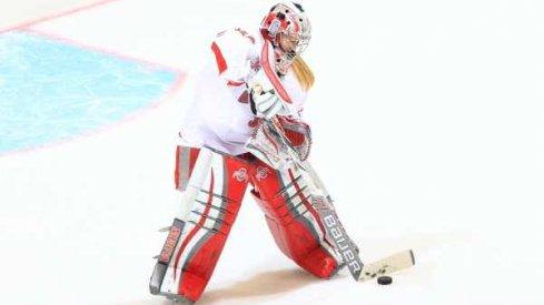 Ohio State goalie Stacy Danczak keeps her net clear.