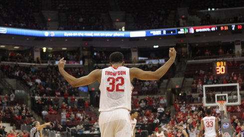 Trevor Thompson pumps up the crowd in Ohio State's win over Northwestern on Tuesday.