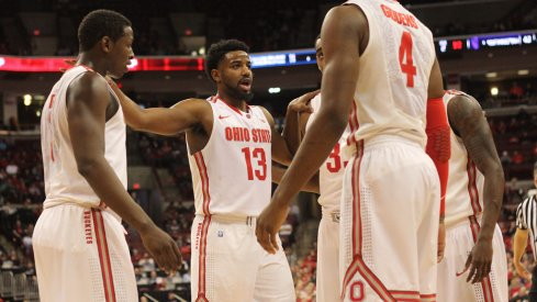 Ohio State huddles during Tuesday's game against Northwestern.