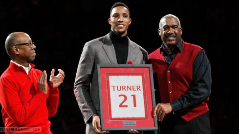 Evan Turner's No. 21 hangs from the Value City Arena rafters.