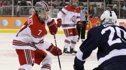 Ohio State's Nick Schilkey skates against Penn State