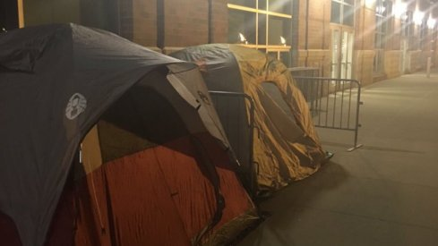 Tents in 'Mattaritaville' on Monday night.