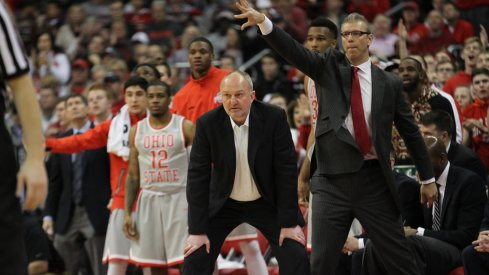 Thad Matta and Jeff Boals look on from the Buckeye bench.