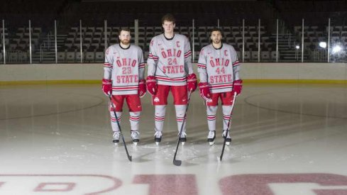 Ohio State Hockey prepares to honor seniors Tyler Lundey, Craig Dalrymple, and Anthony Greco.