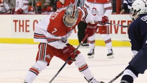 Ohio State's Nick Schilkey controls the puck.