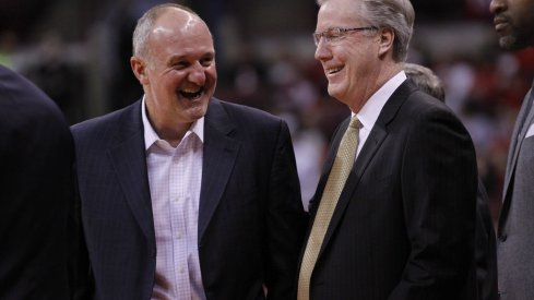 Thad Matta, Fran McCaffrey joke before OSU knocked off Iowa.