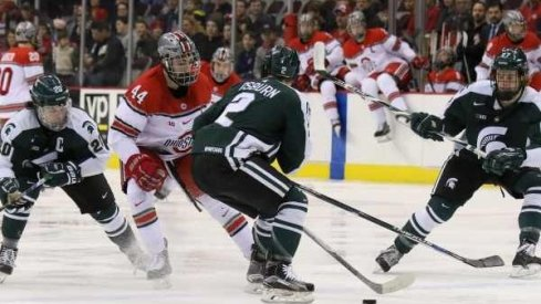 Ohio State hockey vies with Michigan State in a game at Value City Arena.