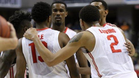Ohio State huddles Thursday night against Penn State.