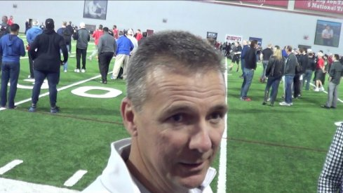 Urban Meyer talked to the local media briefly at Ohio State Pro Day Friday.