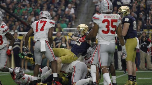 Jerome Baker and Chris Worley dump Notre Dame while awaiting the March 12th 2016 Skull Session.