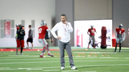Urban Meyer at spring practice Tuesday.