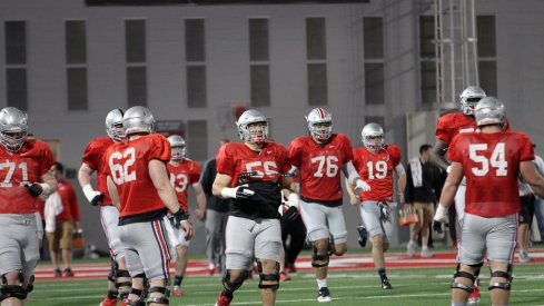 Ohio State's offensive line during Tuesday's spring practice.