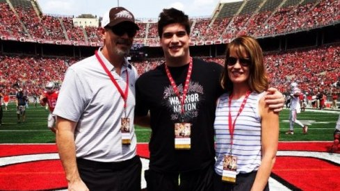 Jack Wohlabaugh with family at Ohio State for its 2015 spring game