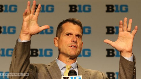 Jim Harbaugh at Big Ten Media Days in Chicago