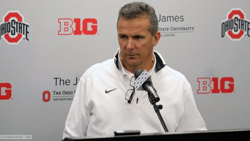 Urban Meyer updates the media March 29 after Ohio State's sixth spring practice.
