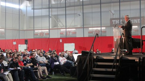 Jim Tressel speaks at Ohio State Coaches Clinic.