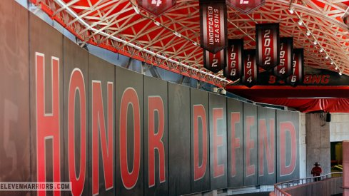 New banners hanging in the Ohio Stadium tunnel.