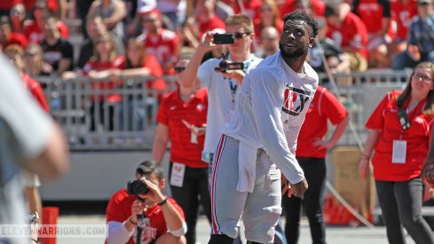JT Barrett taking part in the halftime activities.