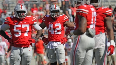Ohio State's defensive line during Saturday's spring game.