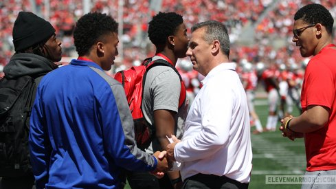 Kellen Mond and Urban Meyer at the Ohio State spring game.