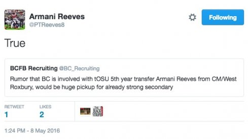 Armani Reeves, Boston College graduate transfer