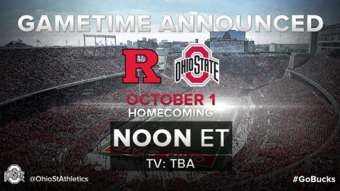 Ohio State's Oct. 1 matchup against Rutgers is set for a noon start.