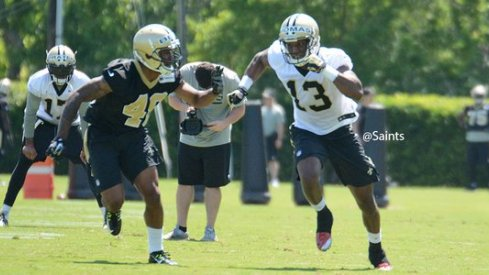 Michael Thomas and Vonn Bell go one-on-one in Saints rookie camp Saturday.