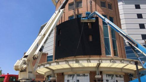 First look at the new video board Ohio State is placing on the southeast corner of the Schottenstein Center this week.