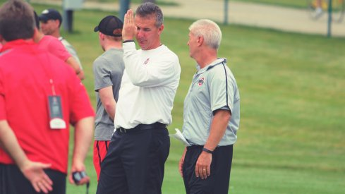 Urban Meyer, Kerry Coombs at an Ohio State camp last summer.