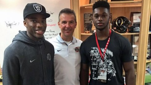 Jeffrey Okudah and Baron Browning with Urban Meyer