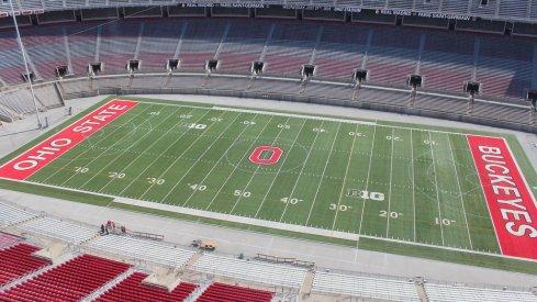 Ohio Stadium from above.
