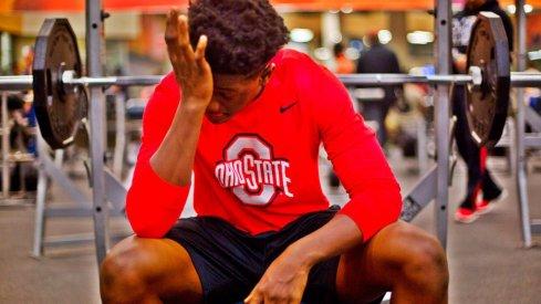 Jahsen Wint in the weight room.