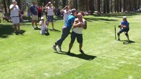 A.J. Hawk destroyed a pair of fans at the American Century Golf Championship Friday.
