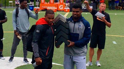 J.K. Dobbins, left, and Ezekiel Elliott at Nike's The Opening.