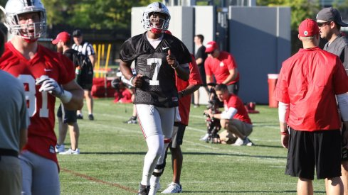 Dwayne Haskins in his first practice at Ohio State.