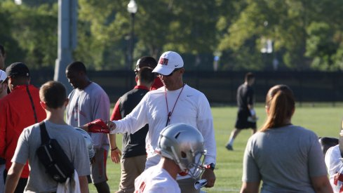 Urban Meyer addresses his team on Day 1 of fall camp.