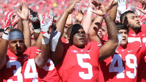 Ohio State sings Carmen Ohio after defeating Bowling Green 77-10.