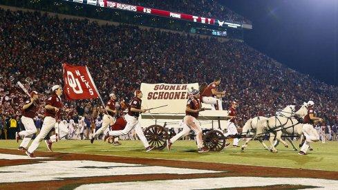 Oklahoma's Sooner Schooner takes the field.