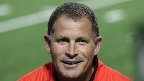 Ohio State co-defensive coordinator Greg Schiano meets with the media.