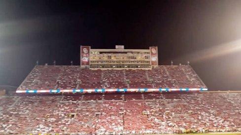 O-H-I-O rolls around Oklahoma Memorial Stadium.