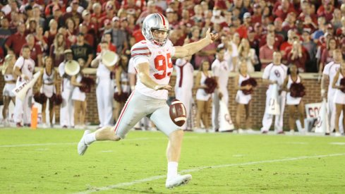 Cameron Johnston punting one of five times against Oklahoma.